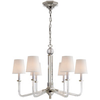 Visual Comfort E.F. Chapman Bennett 6 Light Chandelier in Crystal with Polished Nickel with Natural Percale Shade CHC1180CG/PN-PL