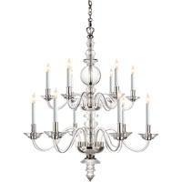 Visual Comfort E.F. Chapman George II 12 Light Chandelier in Crystal with Polished Silver CHC1254CG