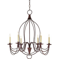 Visual Comfort E.F. Chapman French Country Inn 6 Light Chandelier in Natural Rusted Iron CHC1402NR