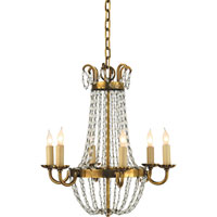 Visual Comfort E.F. Chapman Paris Flea Market 6 Light Chandelier in Antique-Burnished Brass CHC1407AB-SG