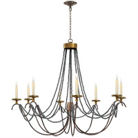 Visual Comfort E.F. Chapman Marigot 8 Light Chandelier in Hand Painted Rust Finish CHC1413R