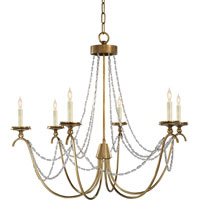 E.F. Chapman Marigot 6 Light 33 inch Antique-Burnished Brass Chandelier Ceiling Light in Antique Burnished Brass, Seeded Glass