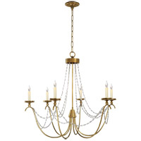 E. F. Chapman Marigot 6 Light 33 inch Antique-Burnished Brass Chandelier Ceiling Light in Seeded Glass