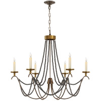 Visual Comfort E.F. Chapman Marigot 6 Light Chandelier in Hand Painted Rust Finish CHC1415R