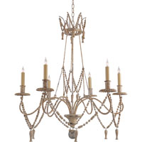 Visual Comfort E.F. Chapman Bead and Tassel 6 Light Chandelier in Old White CHC1419OW