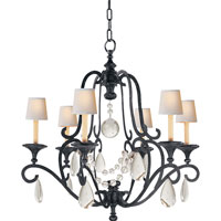 E. F. Chapman Piedmont 6 Light 32 inch Aged Iron with Wax Chandelier Ceiling Light in Seeded Glass, Natural Paper