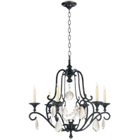 E. F. Chapman Piedmont 6 Light 32 inch Aged Iron Chandelier Ceiling Light in Seeded Glass
