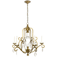 E. F. Chapman Piedmont 6 Light 32 inch Gilded Iron Chandelier Ceiling Light in Seeded Glass