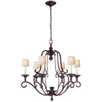 Visual Comfort E.F. Chapman Piedmont 6 Light Chandelier in Hand Painted Rust Finish CHC1420R
