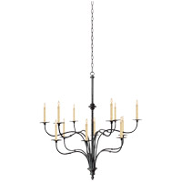 Visual Comfort E.F. Chapman Windsor 12 Light Chandelier in Hand Painted Blackened Rust CHC1432BR