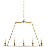 Visual Comfort E.F. Chapman Flat Line 5 Light Linear Pendant in Antique-Burnished Brass CHC1441AB