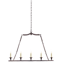 Visual Comfort E.F. Chapman Flat Line 5 Light Linear Pendant in Bronze with Wax CHC1441BZ