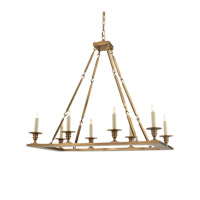Visual Comfort E.F. Chapman Rectangular Flat Line 8 Light Chandelier in Antique-Burnished Brass CHC1442AB