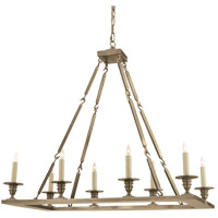 Visual Comfort E.F. Chapman Rectangular Flat Line 8 Light Chandelier in Antique Nickel CHC1442AN