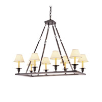 Visual Comfort E.F. Chapman Rectangular Flat Line 8 Light Chandelier in Bronze with Wax CHC1442BZ
