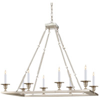 Visual Comfort E.F. Chapman Rectangular Flat Line 8 Light Chandelier in Polished Nickel CHC1442PN