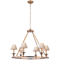 Visual Comfort E.F. Chapman Round Flat Line 6 Light Chandelier in Antique-Burnished Brass CHC1443AB