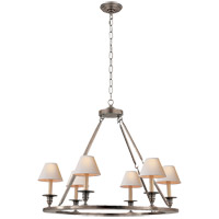 Visual Comfort E.F. Chapman Round Flat Line 6 Light Chandelier in Antique Nickel CHC1443AN