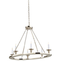 Visual Comfort E.F. Chapman Oval 6 Light Chandelier in Polished Nickel CHC1444PN