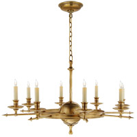 Visual Comfort E.F. Chapman Leaf and Arrow 8 Light Chandelier in Antique-Burnished Brass CHC1447AB