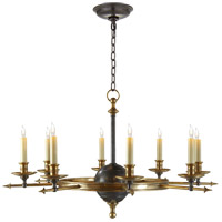 Visual Comfort CHC1447BZ/AB E. F. Chapman Leaf And Arrow 8 Light 35 inch Bronze with Antique Brass Accents Chandelier Ceiling Light