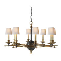 E.F. Chapman Leaf and Arrow 8 Light 35 inch Bronze with Antique Brass Accents Chandelier Ceiling Light