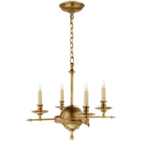 Visual Comfort E.F. Chapman Arrow and Leaf 4 Light Chandelier in Antique-Burnished Brass CHC1448AB