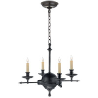 Visual Comfort E.F. Chapman Arrow and Leaf 4 Light Chandelier in Bronze CHC1448BZ