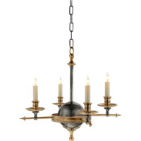 Visual Comfort E.F. Chapman Arrow and Leaf 4 Light Chandelier in Bronze with Antique Brass Accents CHC1448BZ/AB