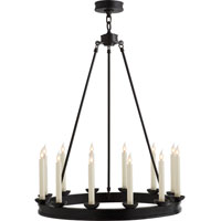 Visual Comfort E.F. Chapman Dorset 12 Light Chandelier in Hand Painted Blackened Rust CHC1458BR