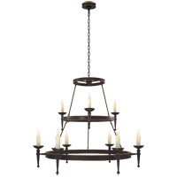 Visual Comfort E.F. Chapman Dorset 9 Light Chandelier in Weathered Iron CHC1462WI