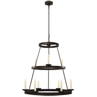 Visual Comfort E.F. Chapman Dorset 9 Light Chandelier in Hand Painted Blackened Rust CHC1463BR