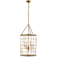 Visual Comfort E.F. Chapman Copene 4 Light 18-inch Foyer Lantern in Gilded Iron, Medium, Round CHC1477GI