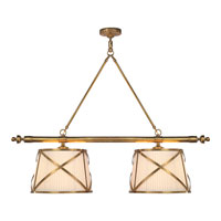 Visual Comfort E.F. Chapman Grosvenor 4 Light Linear Pendant in Antique-Burnished Brass CHC1481AB-L
