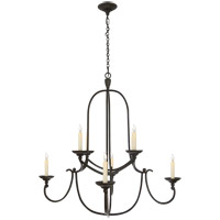 Visual Comfort E.F. Chapman Flemish 8 Light Chandelier in Aged Iron with Wax CHC1494AI photo thumbnail