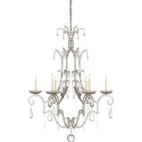 Visual Comfort E.F. Chapman Middleton 6 Light Chandelier in Burnished Silver Leaf CHC1501BSL