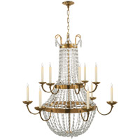 Visual Comfort CHC1508AB-SG E F Chapman Paris Flea Market 12 Light 40 inch Antique-Burnished Brass Chandelier Ceiling Light