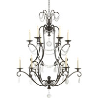 Visual Comfort E.F. Chapman Orvieto 12 Light Chandelier in Aged Iron with Wax CHC1521AI-SG