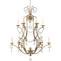 Visual Comfort E.F. Chapman Orvieto 12 Light Chandelier in Gilded Iron with Wax CHC1521GI-SG