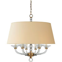 Visual Comfort CHC1526AB-NP E. F. Chapman Stacked Ball 6 Light 31 inch Antique-Burnished Brass Hanging Shade Ceiling Light in Antique Burnished Brass