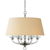 E. F. Chapman Stacked Ball 6 Light 30 inch Polished Nickel Hanging Shade Ceiling Light