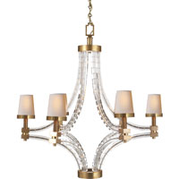 Visual Comfort E.F. Chapman Crystal 6 Light Chandelier in Antique-Burnished Brass CHC1530AB-NP