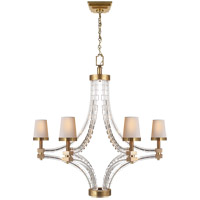 E. F. Chapman Crystal Cube 6 Light 35 inch Antique-Burnished Brass Chandelier Ceiling Light in Antique Burnished Brass