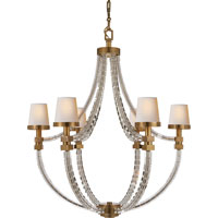 E.F. Chapman Crystal 6 Light 29 inch Antique-Burnished Brass Chandelier Ceiling Light in Antique Burnished Brass