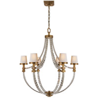 Visual Comfort CHC1534AB-NP E. F. Chapman Crystal Cube 6 Light 29 inch Antique-Burnished Brass Chandelier Ceiling Light