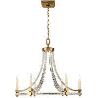 Visual Comfort E.F. Chapman Crystal 6 Light Chandelier in Antique-Burnished Brass CHC1535AB