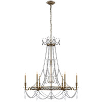E. F. Chapman Belvoir 6 Light 35 inch Antique-Burnished Brass Chandelier Ceiling Light in Antique Burnished Brass