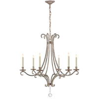 Visual Comfort E.F. Chapman Oslo 6 Light Chandelier in Burnished Silver Leaf CHC1550BSL-CG