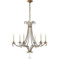 E. F. Chapman Oslo 6 Light 33 inch Gilded Iron with Wax Chandelier Ceiling Light