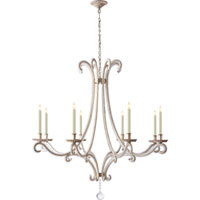 Visual Comfort E.F. Chapman Oslo 8 Light Chandelier in Burnished Silver Leaf CHC1551BSL-CG